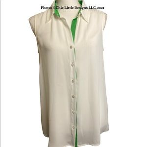 Vince Camuto White Sheer Sleeveless Collared Button Up Blouse Size S